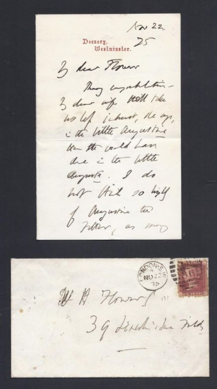 British Victorian Churchman & Author Dean Stanley Signed Letter 1875